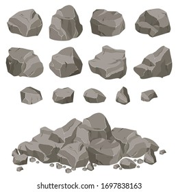 ollection of stones of various shapes. Stones and rocks in isometric 3d flat style.