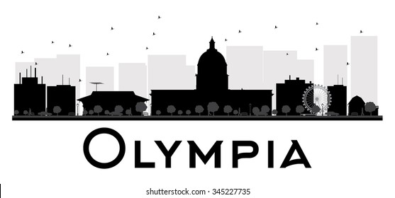 Olympia City skyline black and white silhouette. Vector illustration. Simple flat concept for tourism presentation, banner, placard or web site. Business travel concept. Cityscape with landmarks