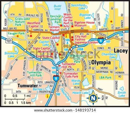 Olympia Washington Area Map Stock Vector (Royalty Free) 148193714 ...
