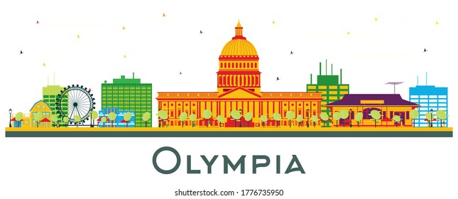 Olympia Washington City Skyline with Color Buildings Isolated on White. Vector Illustration. Business Travel and Tourism Concept with Historic Architecture. Olympia USA Cityscape with Landmarks.