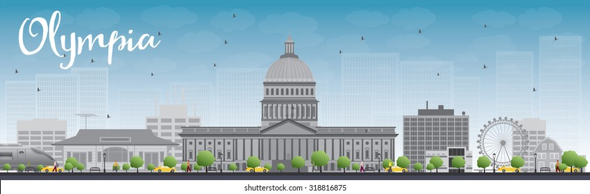 Olympia (Washington) Skyline with Grey Buildings and Blue Sky. Vector Illustration. Business travel and tourism concept with modern buildings. Image for presentation, banner, placard and web site.