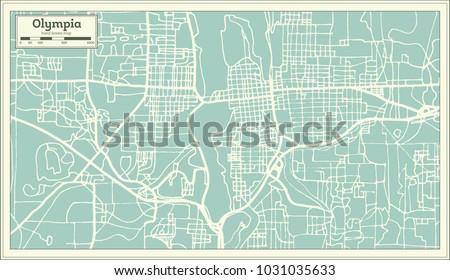Olympia Washington USA City Map Retro Stock Vector (Royalty Free ...