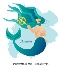 Olympian Ancient Greece Pantheon Deity Greece Ancient God Poseidon with Human Body and Fish Tail Holding Gold Trident. Neptune or Triton in Greek Religion Myth Cartoon Flat Vector Illustration Banner