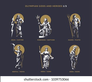 Olympian gods and heroes. Set 1/3 of vector emblems.