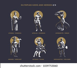 Olympian gods and heroes. Set 2/3 of vector emblems.