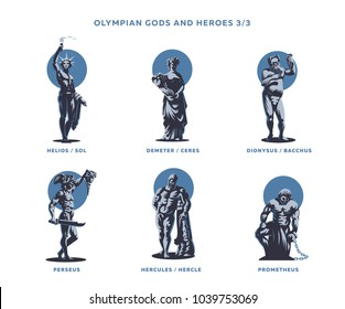 Olympian gods and heroes. Set 3/3 of vector emblems.