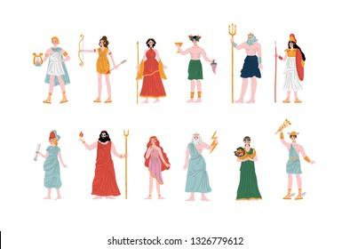 Olympian Greek Gods set, Apollo, Hera, Dionysus, Zeus, Demetra, Hermes, Clio, Artemis, Aphrodite, Poseidon, Ancient Greece Mythology Heroes Vector Illustration