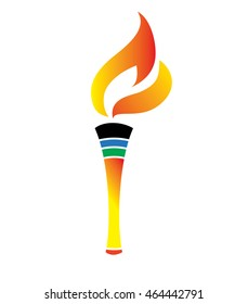 Olympic colors colored olympic torch. flame icon Vector illustration.