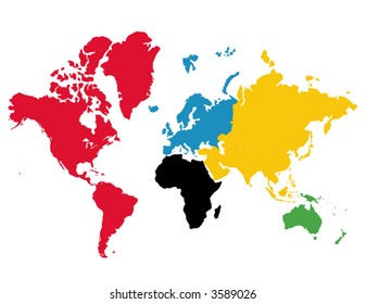 World map olympic images stock photos vectors shutterstock olympic games colored continents vector gumiabroncs Images