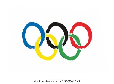 Olympic Games Flag Vector Hand Painted with Rounded Brush