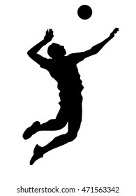 Olympic games, Tokyo 2021 Illustration of abstract volleyball player silhouette