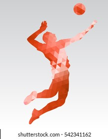 Olympic games, Tokyo 2021 Illustration of abstract triangle volleyball player silhouette
