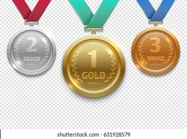 Olympic gold, silver and bronze award medals, winner honor prize vector set