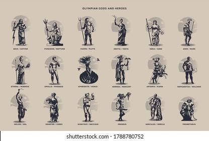 Olympic heroes. Greek and Roman gods. Zeus, Poseidon, Hades, Artemis, Ares, Venus.