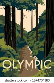 Olympic National Park Vector Illustration Background. Travel to State of Washington, on the Olympic Peninsula United States. Flat Cartoon Vector Illustration in Colored Style.