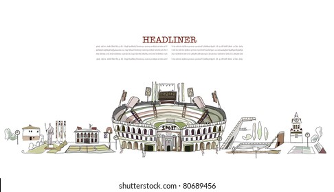 Olympic stadium and sport grounds illustration
