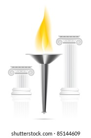 Olympic torch with flame on ionic column background. Vector illustration
