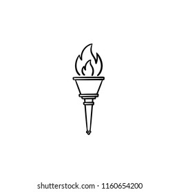 Olympic torch hand drawn outline doodle icon. Olympic games, sport champion, winner and triumph flame concept. Vector sketch illustration for print, web, mobile and infographics on white background.