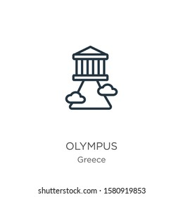 Olympus icon. Thin linear olympus outline icon isolated on white background from greece collection. Line vector sign, symbol for web and mobile