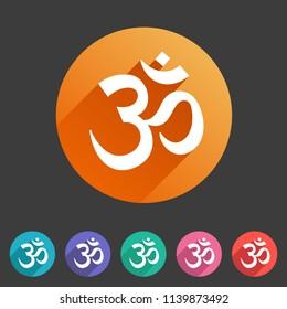 Om aum hinduism Map location pointer icon flat web sign symbol logo label