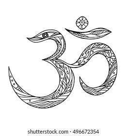 Om, Aum symbol design hand drawn vector illustration design