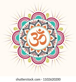 Om Aum symbol inside colorful flourish elements circle vector illustration.