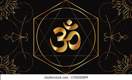 Om or Aum is a symbol of the sacred Hindu sound, the mother of all mantras. Occult sign of golden color on a black background with geometric ornament.
