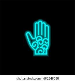 Om blue glowing neon ui ux icon. Glowing sign logo vector