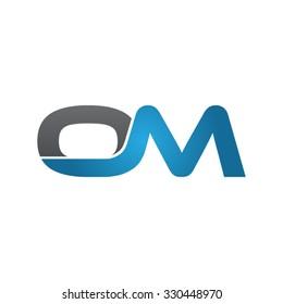 OM company linked letter logo blue
