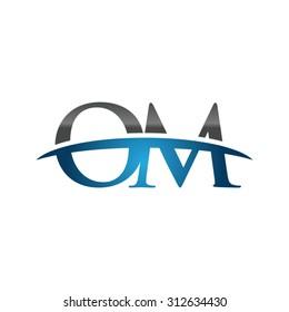 OM initial company blue swoosh logo