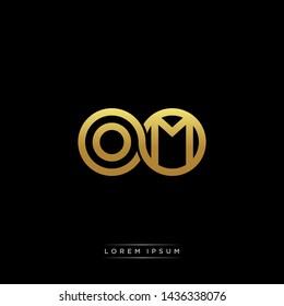OM initial letter linked circle capital monogram logo modern template