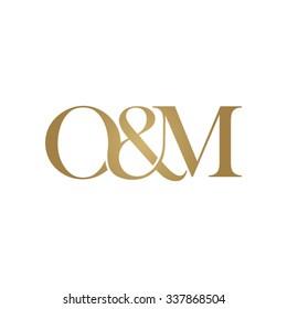 O&M Initial logo. Ampersand monogram golden logo