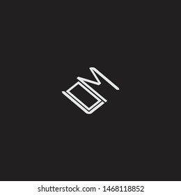 OM Initial Logo letters with rotate squere template