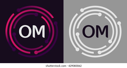 OM letters business logo icon design template elements in abstract background logo, design identity in circle, alphabet letter
