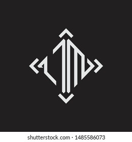 OM Logo Abstract letter Monogram with Arrow in every side isolated on black background