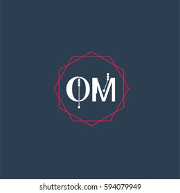 om logo letter initial, Abstract Polygonal Background Logo, design for Corporate Business Identity,flat icon, Alphabet letter