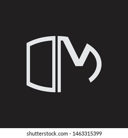 OM Logo letter oval monogram design template with black and white colors