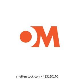 OM Logo. Vector Graphic Branding Letter Element. White Background