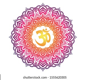 Om with mandala gradient illustration, on symbol mandala graphic.