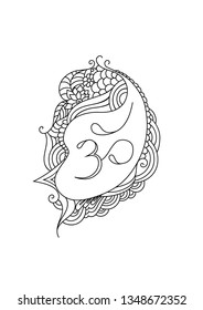 Om mantra coloring book illustration with oriental zentangle ispired ornaments. Om tattoo sketch.