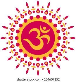 Om Mantra, sun, meditation, buddhism - vector image