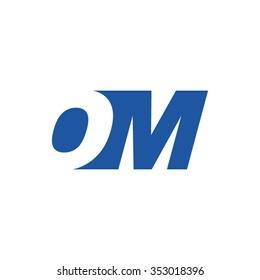 OM negative space letter logo blue