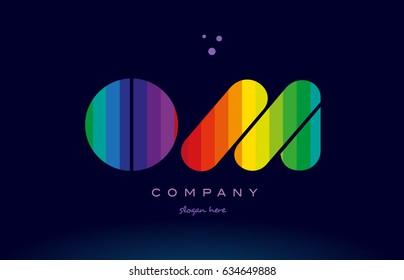 om o m alphabet letter colorful creative colors text dots creative company logo vector icon design template