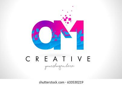 OM O M Letter Logo with Broken Shattered Blue Pink Triangles Texture Design Vector Illustration.