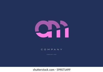 om o m  pink blue pastel modern abstract alphabet company logo design vector icon template