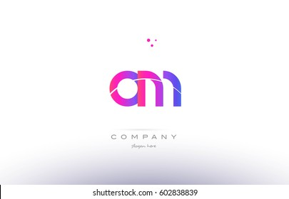om o m  pink purple modern creative gradient alphabet company logo design vector icon template