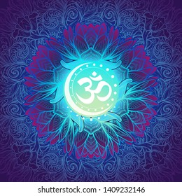 Om a Sacred mantra and a symbol of Hinduism. Decorative floral background. EPS10 vector illustration
