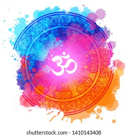 Om a Sacred mantra and a symbol of Hinduism. Rainbow colored watercolor textured background. EPS10 vector illustration