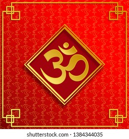 Om sacred symbol concept in gold on red background with gold Ganesh logo for banner, web, (translate : Ohm)