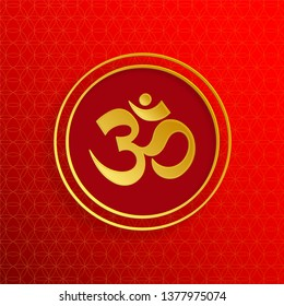 Om sacred symbol in gold with gold flower of life on red background for, banner, web, (translate : Ohm)